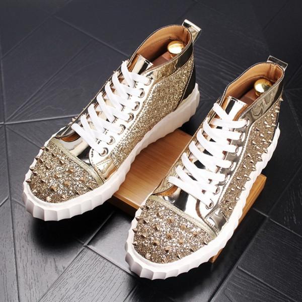 Zapatos de suela gruesa, zapatos de tacón alto, zapatos de remache, estilista masculino, personalidad, moda, zapatos de tacón alto, remache alto, botines, hombre W60