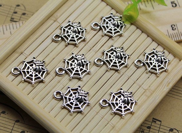Wholesale 100pcs spider web Alloy Charms Pendant Retro Jewelry Making DIY Keychain Ancient Silver Pendant For Bracelet Earrings 16x13mm