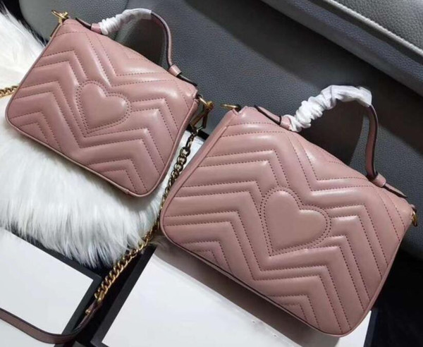top popular Newset Love heart V Wave Pattern Bags With Handle Shoulder Bag Chain Women Handbags Crossbody Purse Messenger Bags 2020