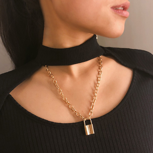 Trend versatile multi-layer lock style vintage street snap collar accessories women individuality creative metal cool wind sweater chain