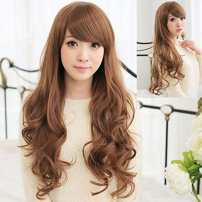 Sexy Womens Long Wavy Hair Full Cosplay Party Costume Dress Girls Wig heat resistant fibers Hair wigs Free Shipping