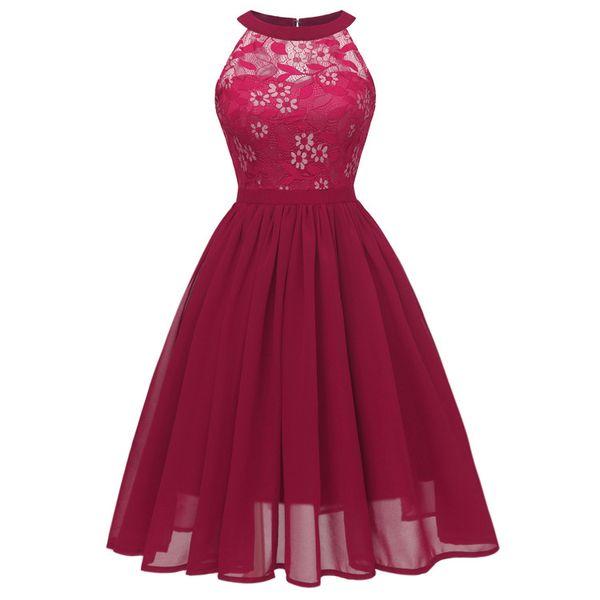 Women Sexy Sleeveless Halter Casual Dresses Evening Dresses Party Prom Dress Bridesmaid A-line Dress Vintage Lace Chiffon Patchwork Midi Par