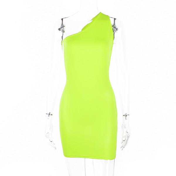 Un hombro Sin espalda Neon Green Orange Vestidos sólidos 2019 Verano Moda para mujer Vestido de fiesta de cintura alta Club Streetwear