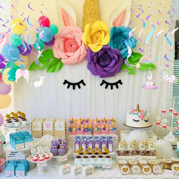 Conjunto de 12 iridiscente de la hoja del unicornio del arco iris remolinos decoraciones colgantes Kids First cumpleaños del bebé ducha partido Suministros de bricolaje