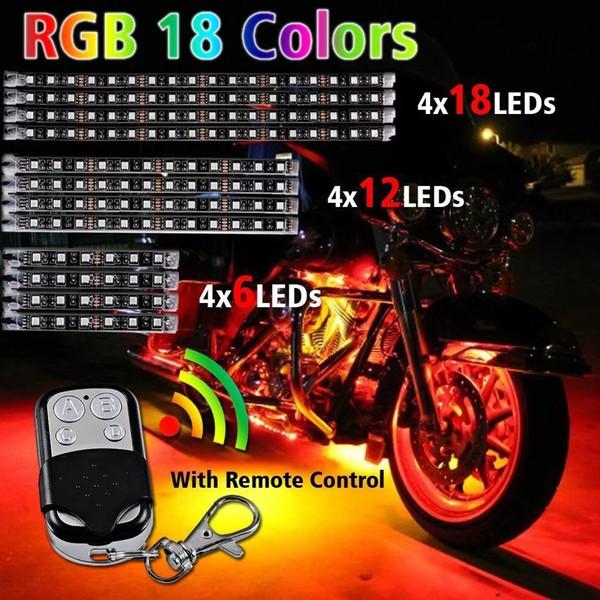 Moto LED RGB Kit multi-couleurs Accent Glow Neon Strips avec télécommande pour Harley Motor Bike