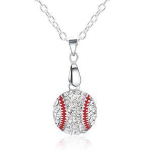 Pendente di baseball del diamante di cristallo Collana in argento Collana lunga catena di cristallo maglione lega di cristallo Collana gioielli femminile regalo LJJR225