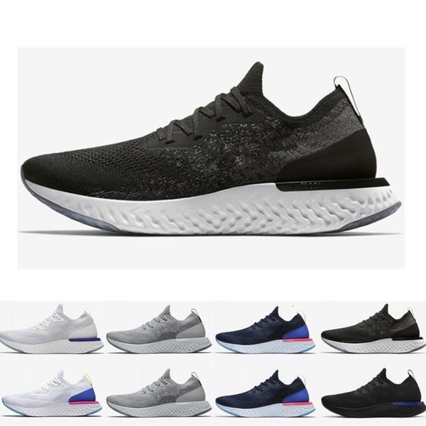Commercio all'ingrosso epico Reagire Womens Mens scarpe da corsa Nero Bianco Blu Fly Immediata traspirante Designer Sport scarpe da tennis calza il formato EUR 36-45