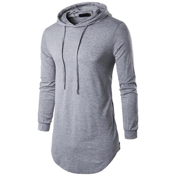 Tops tees Hot sell 2017 hooded zipper long section autumn men\'s T-shirt men\'s long sleeve T-shirt fashion round neck men\'s