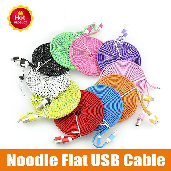 Оптовая Noodle Плоский Micro Usb-кабель V8 зарядное устройство Кабели для зарядки для Samsung Smart Phone 6/7 P Синхронизация Данных Шнур Линии DHL Бесплатно