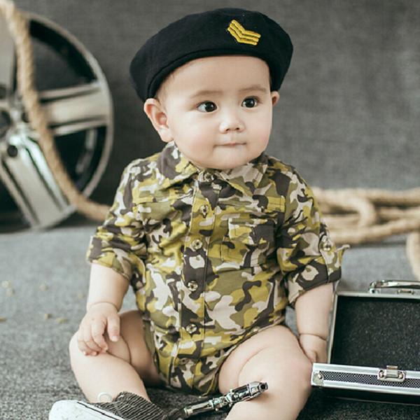 2019 Yeni Bebek Bebek Çocuk Kız Erkek Uzun Kollu Kamuflaj Romper Jumpsuit Kıyafetler 0-24M GPS