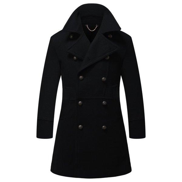 Großhandel Neue Herren Stehkragen Wolle Wintermantel Mode Männlichen Langen Trenchcoat Zweireiher Mann Wolle Peacoat Männer Woolen Langen Mantel Von
