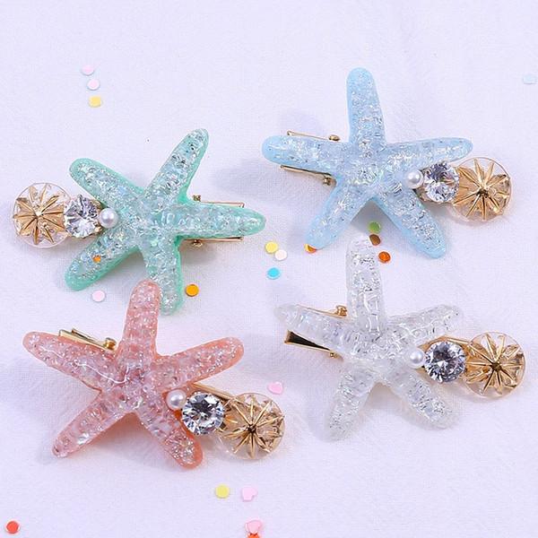 Starfish Shell Shape Duckbill Clip Plastic Pearl Rhinestone Starfish Hairpin INS Girl Hair Clip Ornament Hot Sale 3hf O1