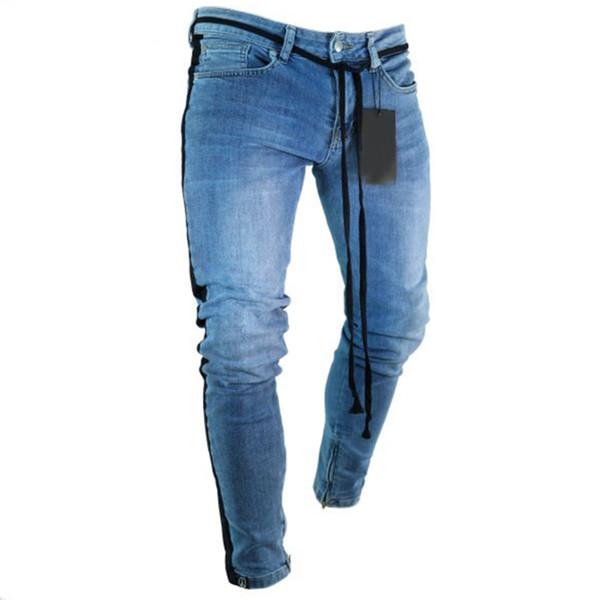 Lightweight Mens Stripes Casual Pants Regular Slim Fit Stretch Denim Jeans For Men