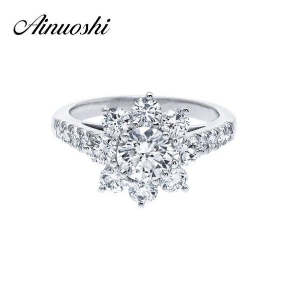 Ainoushi 0.8 Carat Wedding Ring Sona Round Cut Flower Ring 925 Sterling Silver Ring Women Engagement Jewelry Anniversary Gift T7190614