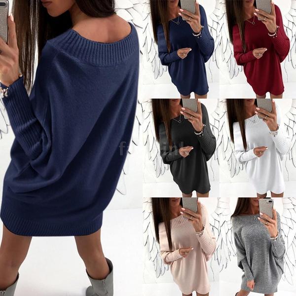 Мода женщин с плеча с длинным рукавом свитера платье Batwing втулки вскользь Сыпучие Трикотажное мини-платье