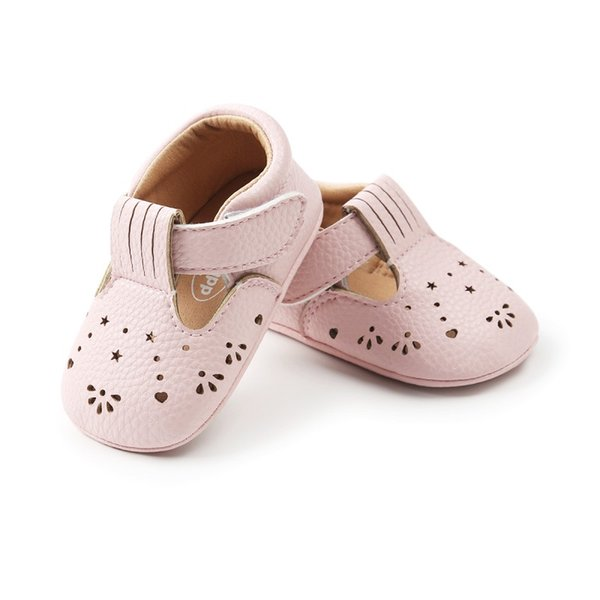 Hot Sale Cute Newborn Baby Girls Shoes Bebe First Walkers Princess Hollow Star-Shaped Crib Flat Shoes