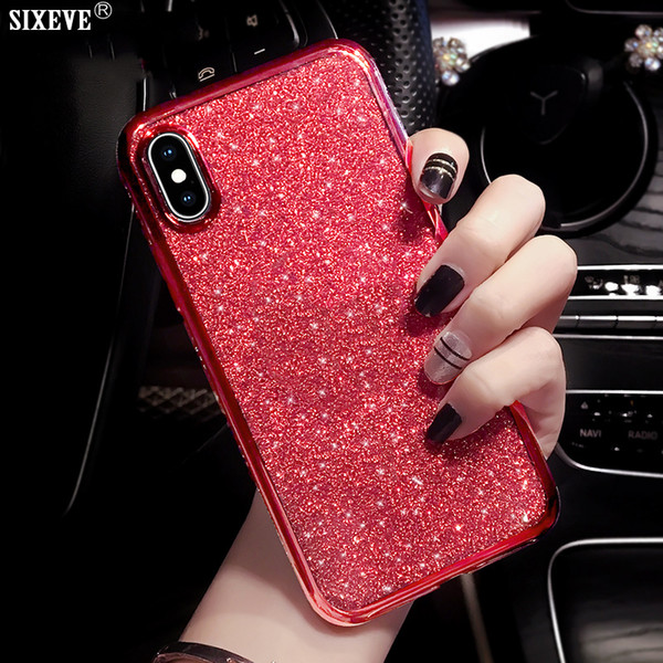 Caso de luxo para iphone xs max x xr 6 s 6 s 8 7 plus 6 plus 7 plus 8 plus telefone celular silicone macio tampa traseira diamante coque amortecedor