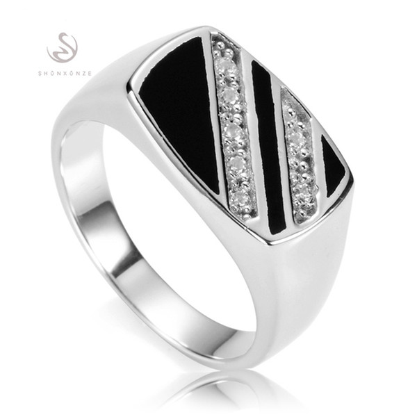 top popular SHUNXUNZE magnificent vintage male finger 925 sterling Silver Rings For Men Black Resin Jewelry & Accessories S-3777 size 7 8 9 10 11 12 13 2019