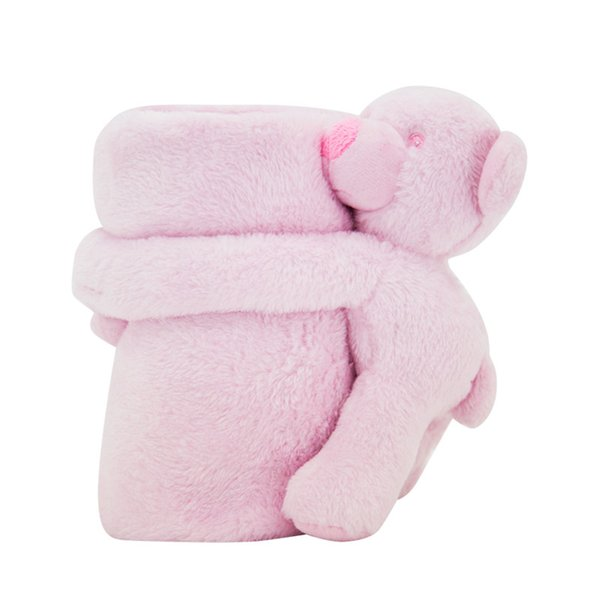 Kavkas chica del bebé del oso del juguete de la felpa de la manta de una sola capa de poliéster de otoño del resorte de empañar Manta de cama para el bebé recién nacido