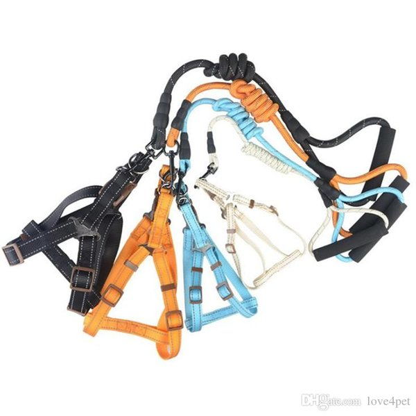 D07 reflective pet dog harness and pet leashes set pet tractoion rope suit 2019 new style