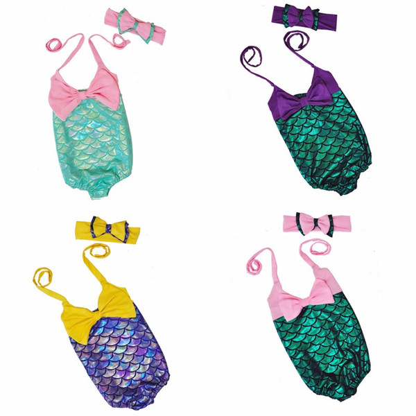best selling Children Girls Mermaid Swimwear Bow Headband+Bow Swimsuit 2pcs set Cartoon Mermaid Bikini Kids One-piece Beach Swimming Suit