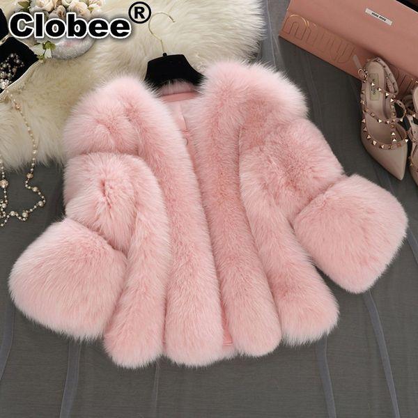 Manteau femme hiver 2019 Abrigo corto de piel sintética Chaqueta de piel de zorro de invierno Mujer rosa peluda Fake Outwear Plus Size Overcoat