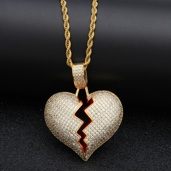 Coeur brisé solide Iced Out collier déclaration pendentif déclaration de couleur or zircon cubique collier bijoux Hip Hop hommes