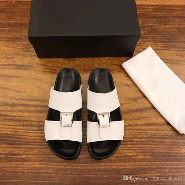 Мужские тапочки 2019 Новые черно-белые пляжные повседневные туфли на толстой подошве из кожи с нескользкой мягкой подошвой
