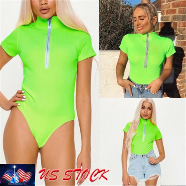 Summer Women Short Sleeve Bodysuit Leotard Tops Blouse Jumpsuit Rompers Bodysuit Solid Color zipper Fluorescent green S M L