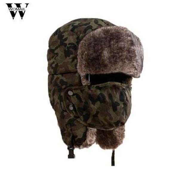 Soft Waterproof Unisex Camouflage Winter Hat Wind Mask Cold-proof Rimq Outdoor Several Wear Methods Hat Warm Cap