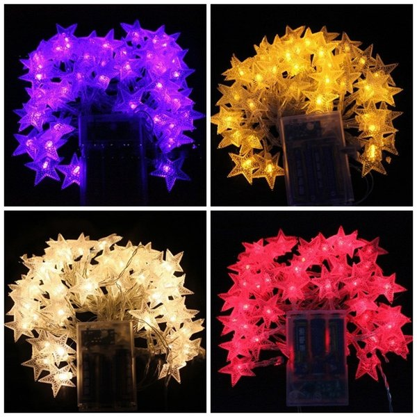 Catene di illuminazione a stella a cinque punte Decorazioni per feste Lampada a stringa LED Batteria luce Plastica Viola Bianco Prova 8 36yhC1