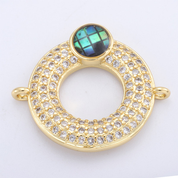 Singreal Abalone Shell Micro Pave Ring Charms Bracelet necklace Choker Pendant connectors for women DIY Jewelry making