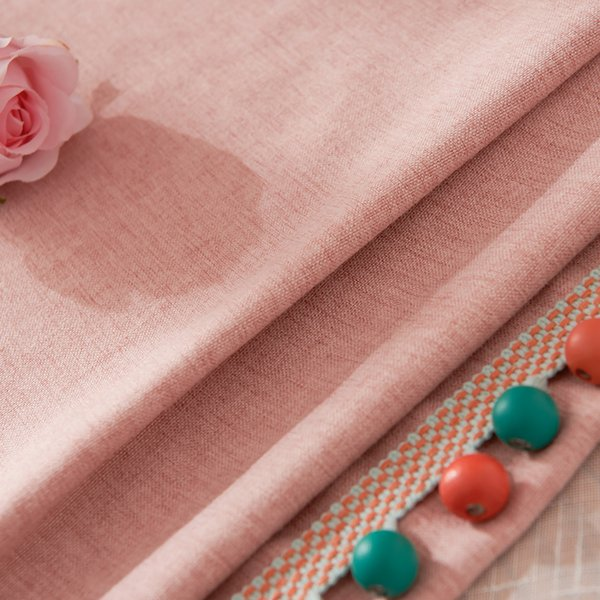 Cotton and linen fabric curtain fabric living room shading plain curtain fabric custom finished products