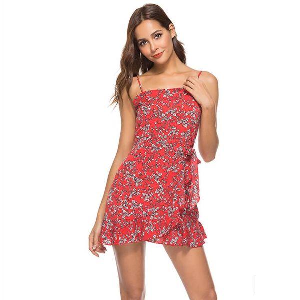 Vestidos sexy para mujer Casual Summer Sleeveless Beach Dress Sling Irregular Mini vestido para mujer Ropa 4 colores S-XL
