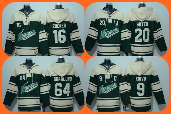 2016 New Wholesale Minnesota Wild 64 granlund 20 suter 16 zucker 9 koivu green Hoodies Jersey Top quality Ice Hockey jerseys Drop Shipping