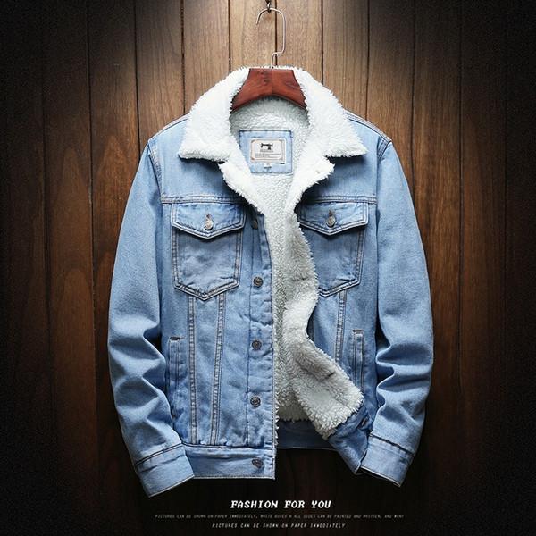 Uomini Light Blue inverno Jean Giacchette Abbigliamento da esterno caldo Denim cappotti nuovi uomini Large Size Lana Liner spessa Inverno Denim Giacche Size6XL