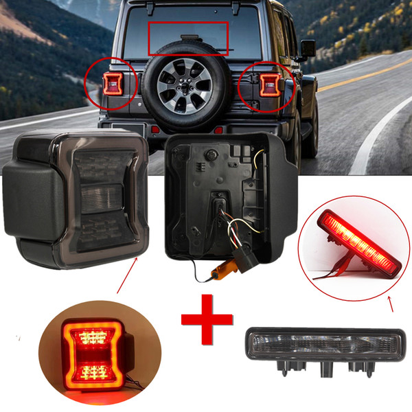 best selling New Led Tail Lights For Jeep Wrangler JL 2018 2019 Rear Reverse Taillights With JL 3rd Brake Light Lamp