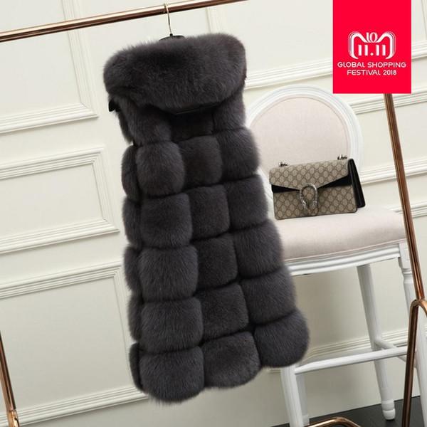 Fur Hood Imitation Fox Fur Vest Faux Fox Coat 2018 Winter Warm Women patchwork Jacket Outerwear Female Long Waistcoats L1084