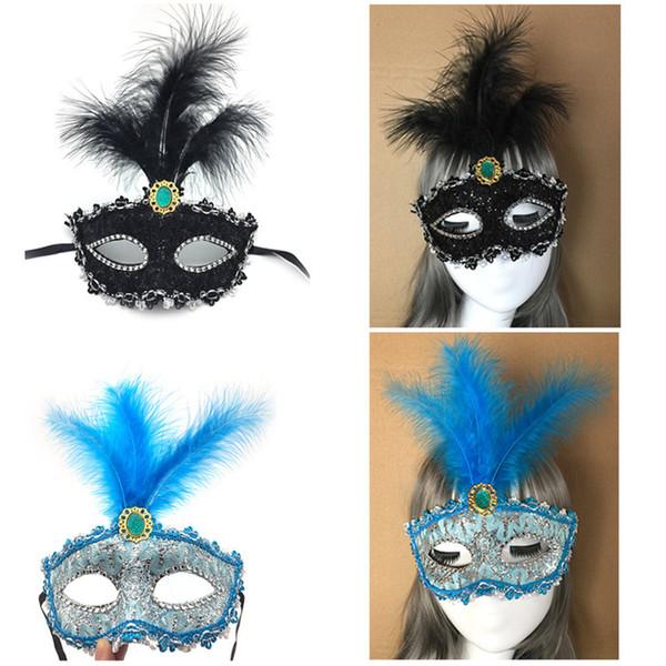 Nuevo patrón de encaje de dragón media mascarillas mascarada danza rendimiento máscaras fiesta de Halloween princesa máscaras de plumas al por mayor