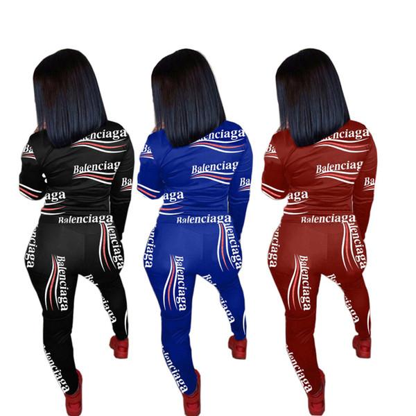 Marchio di stampa della lettera completa Donne Tuta a maniche lunghe T-shirt + delle ghette dei pantaloni a due pezzi femminile Trendy Maglione sportivo S-XXL C120308