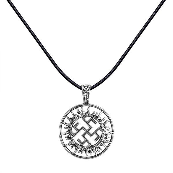 Huilin Jewelry New Slavic Pagan Symbol Pendant Necklace Norse Nautical jewelry Antique Silver Black Rope Collars