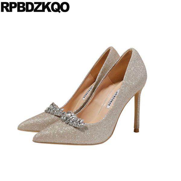 Rhinestone Crystal Pointed Toe Stiletto Super Golden Silver Glitter Diamond Bridal High Heels Pumps Ultra Gold For Women Sequin Dansko Shoes Tennis