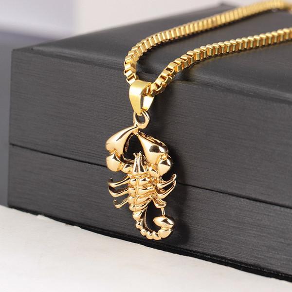 Gold Scorpion Anhänger Hip Hop Halskette Coole Rapper Halskette Mit 24 Zoll Ketten Für Männer Partei Schmuck Geschenk