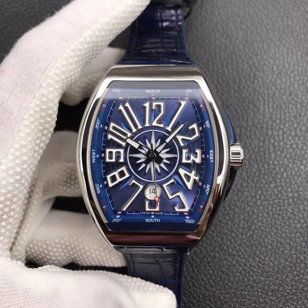 O novo V45 azul iate relógio de luxo 316L relógio de precisão dos homens de aço com ETA2824 movimento mecânico automático é preciso