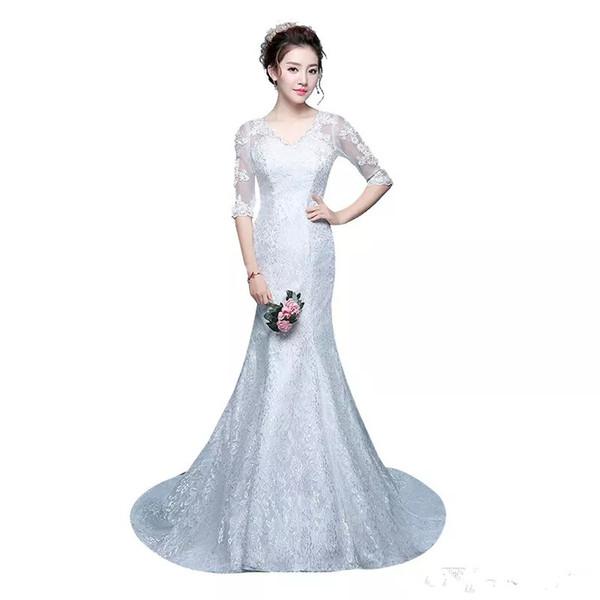Vintage Sexy V Neck Lace Mermaid Bridal Gowns Wedding Dresses With Long Sleeve Mermaid Wedding Dress vestido de noiva