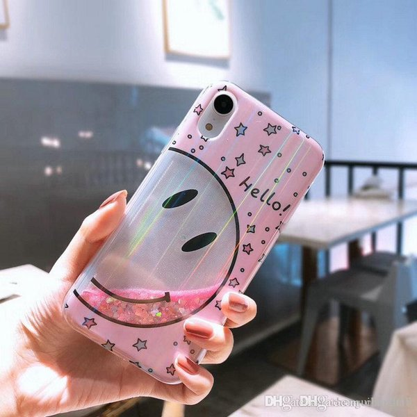 Smiley líquido quicksand phone case capa para iphone xs max xr x 7 7 mais 8 8 plus 6 6 mais tpu lado macio