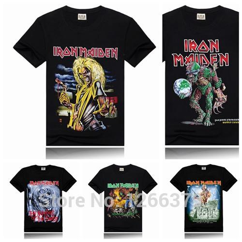 Venta al por mayor-Iron Maiden Printing New Men T-shirt Rock Band Más colores Fashion Sports T-shirt Black Size S-XXXL
