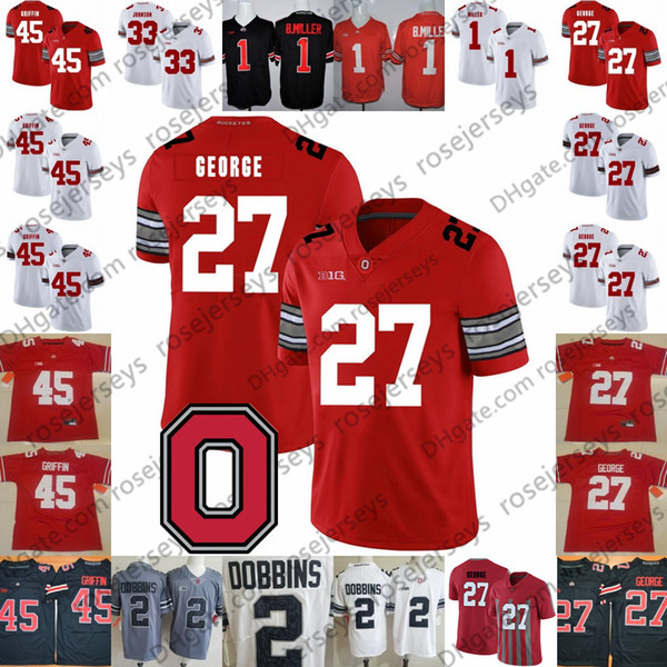 Ohio State Buckeyes #27 Eddie George 32 Jack Tatum 36 Chris Spielman 45 Archie Griffin 9 Johnny Utah Vintage Red White Jersey 4XL