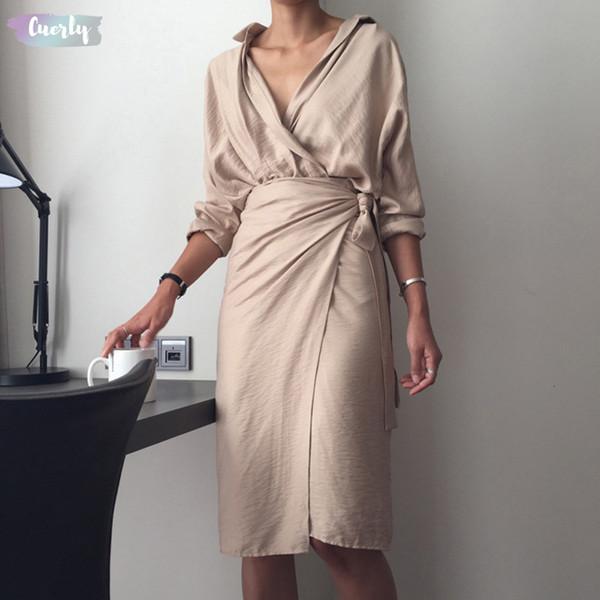 Новое платье женщин Мех вскользь V шеи Сыпучие сплошного цвета с длинным рукавом Перевозка груза падения Хорошее качество Дизайнер одежды