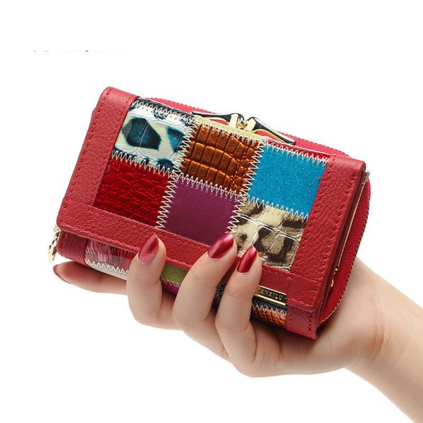 2019 Ladies Plaid Female Patchwork Short Design Hand Purse Fashion Brand Genuine Cowhide Leather Small Purse Wallet